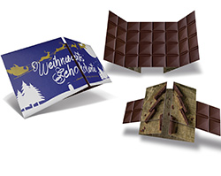 logoloop<sup>®</sup>- Weihnachtsfaltkarte im Schokoladendesign