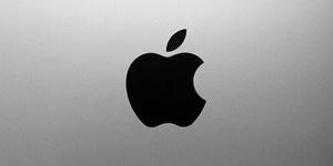 Schwarzes apple Logo auf silbernem Hintergrund